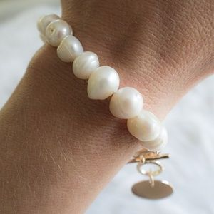 Jewelry - Golden Charm Freshwater Pearl Toggle Bracelet